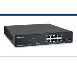 REPOTEC 8-P Gigabit + 2-SFP(100/1G) Web-Smart+ 802.3at PoE Switch | RP-PG1510W