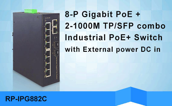REPOTEC 10-port Industrial PoE+ Switch | RP-IPG882C