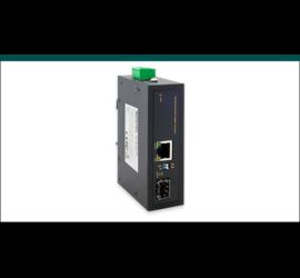 REPOTEC 10/100/1000Base-TX to 100/1000Base-X SFP Industrial PoE+ Media Converter | RP-IMC811FP
