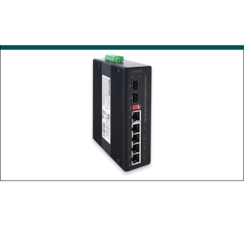 REPOTEC 4-P Gigabit + 1-TP/SFP combo + 1-SFP(100/1G) slot Industrial Switch W/ 4-Port PoE+ | RP-IPG421-12V