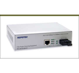 REPOTEC 10/100/1000Base-T to 1000Base-X Gigabit PoE PSE Media Converter | RP-130GPSC