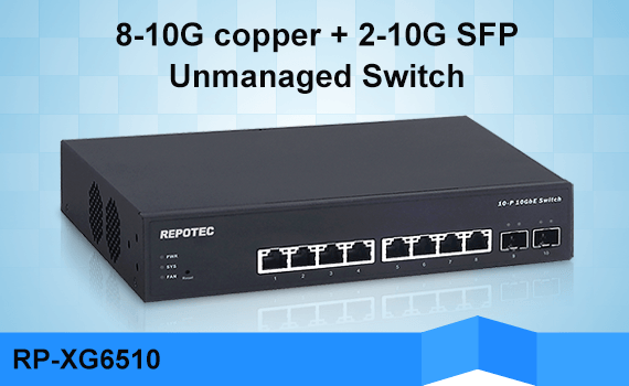 REPOTEC 8-P TP + 2-SFP+ slot Unmanaged 10G Uplink Switch